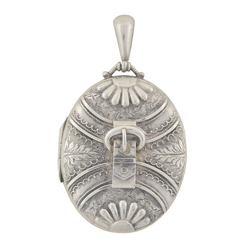 Victorian Sterling Silver Buckle & Leaf Locket