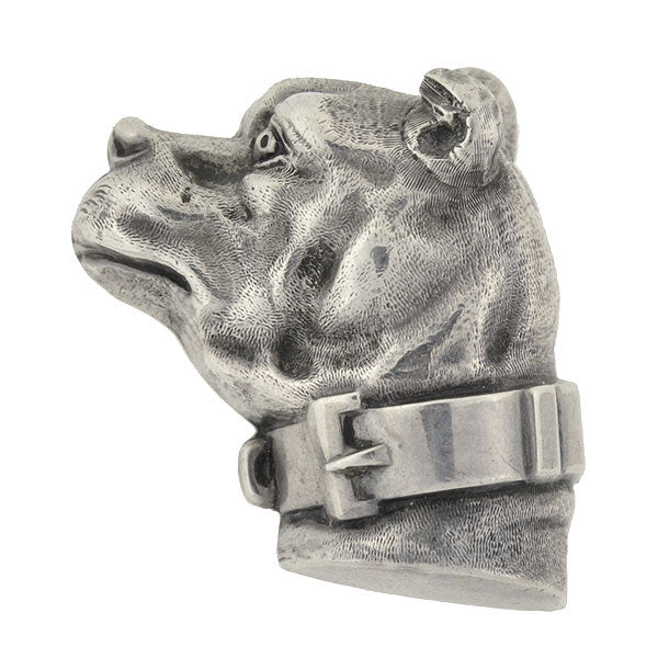 Late Victorian Sterling Silver Dog Head Pin