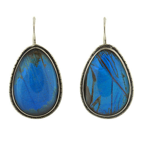 Art Deco Sterling & Real Butterfly Wing Teardrop Earrings
