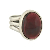 Estate Sterling Cabochon Tourmaline Ring