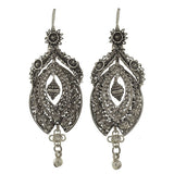 Victorian Dramatic Sterling Canetille Filigree Wirework Earrings