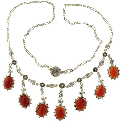 Late Art Deco Sterling & Carnelian Festoon Necklace & Earring Set