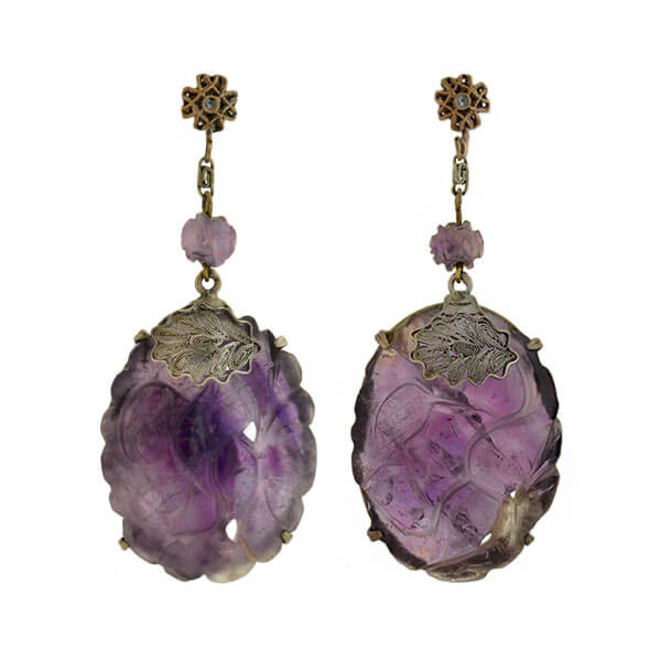 Art Deco Chinese Sterling Silver + Carved Amethyst Earrings