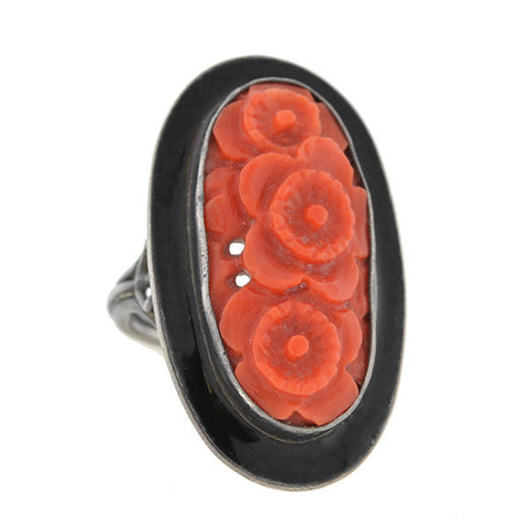 Art Deco Sterling Carved Coral & Enamel Floral Motif Ring
