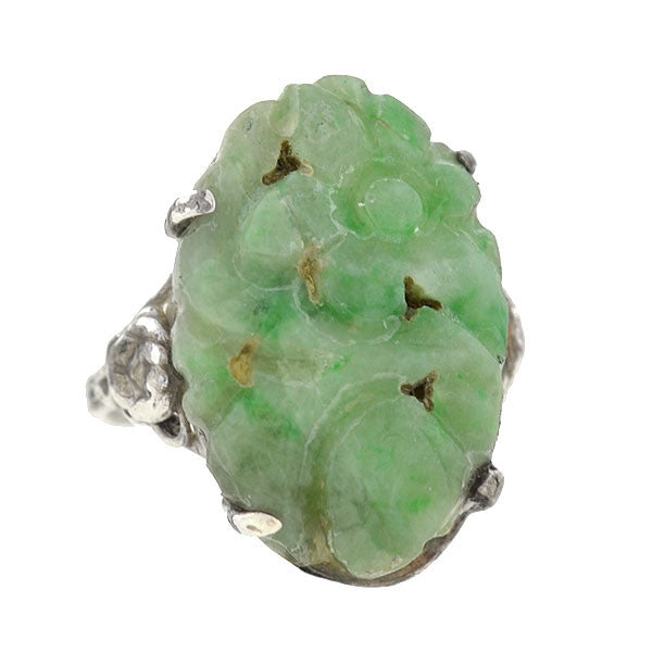 Art Deco Sterling Carved Floral Jade Ring