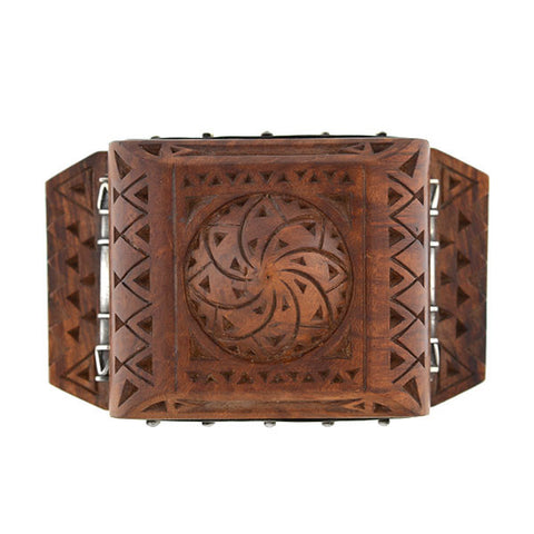 H. KLEISS Art Deco Sterling & Carved Wood Bracelet