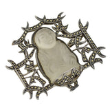 Art Deco Sterling Rock Quartz Crystal & Marcasite Buddha Pin