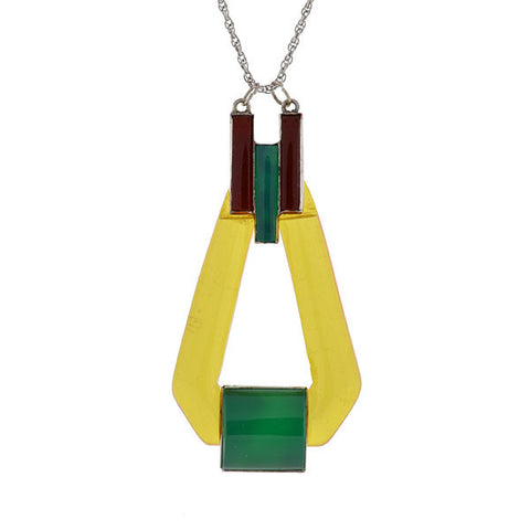 Art Deco Sterling Silver & Celluloid Pendant/Necklace