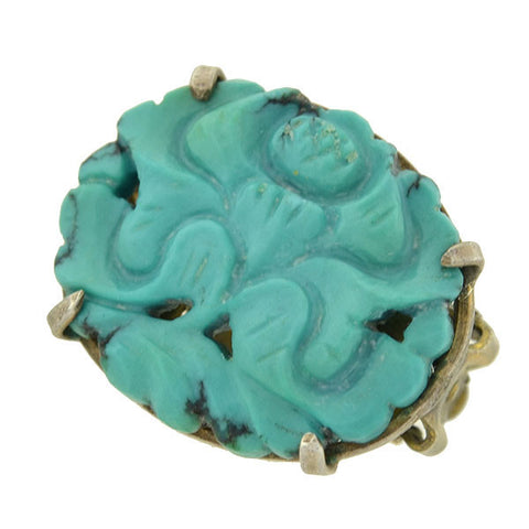 Vintage Sterling Chinese Carved Turquoise Earrings