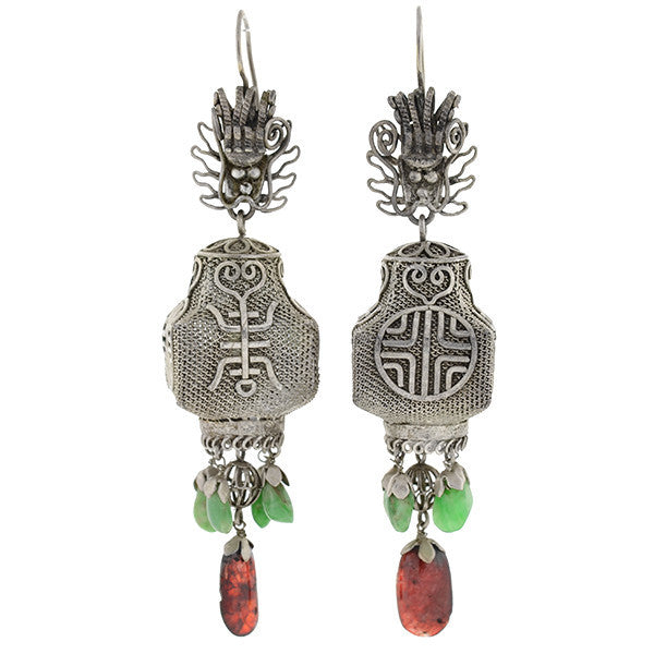 Art Deco Sterling, Jade & Tourmaline Chinese Lantern Earrings