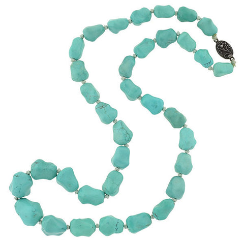 Vintage Chinese Turquoise Bead Necklace with Silver Clasp