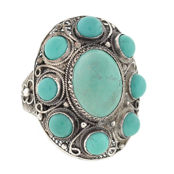 Vintage Chinese Silver & Turquoise Cluster Ring