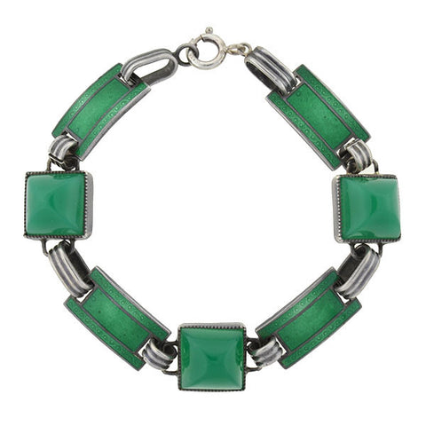 Art Deco Sterling Green Enamel Chrysoprase Bracelet