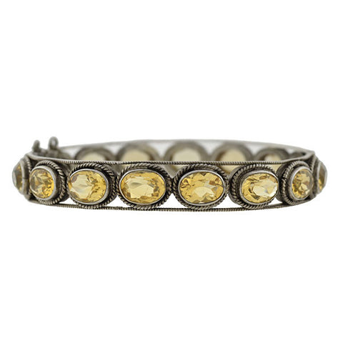 Arts & Crafts Sterling Silver Citrine Bangle Bracelet