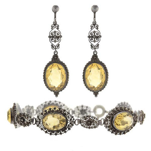 Art Deco Silver & Citrine Earrings & Bracelet Set