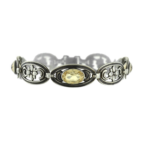 Art Deco Sterling Citrine Link Bracelet with Floral Motif
