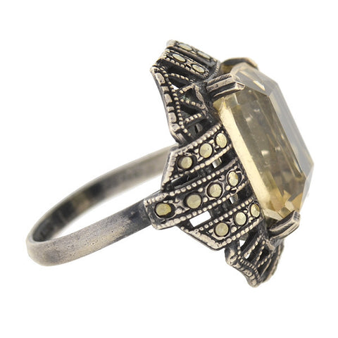 Art Deco Sterling Silver Citrine & Marcasite Ring