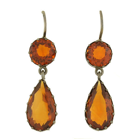 Victorian Sterling & Citrine Teardrop Earrings