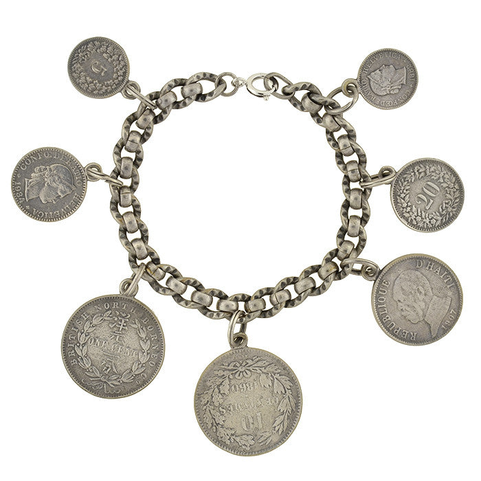 Late Victorian Antique Silver Coin Compilation Bracelet