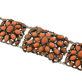 Arts & Crafts Era Sterling & Natural Coral Bracelet