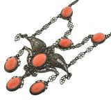 Arts & Crafts Italian Silver & Coral Filigree Necklace