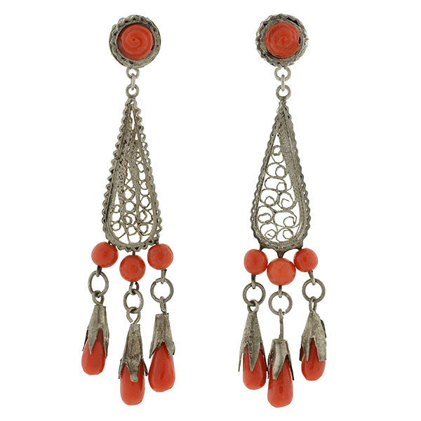 Art Deco Spun Silver Cannetille Filigree & Coral Chandelier Earrings