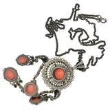 Arts & Crafts Sterling Coral & Seed Pearl Necklace