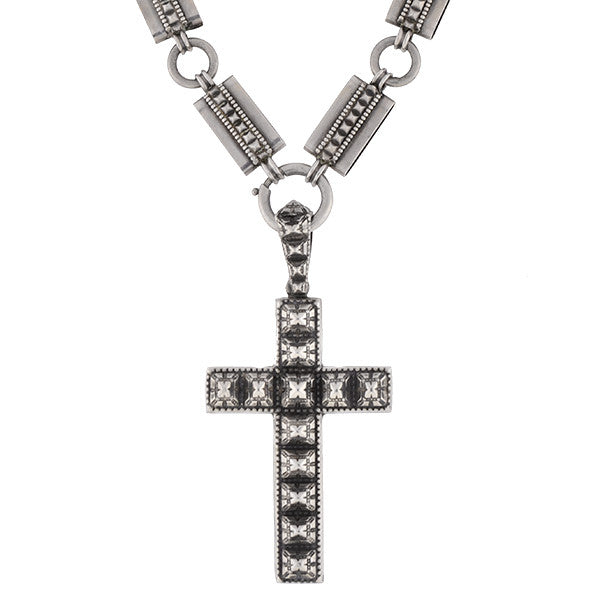 Victorian Sterling Book Chain & Large Cross Necklace