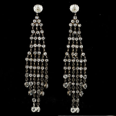 Art Deco Silver & Crystal Long Chandelier Earrings