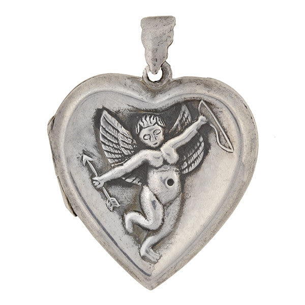 Art Deco Sterling Silver Cupid Heart Locket