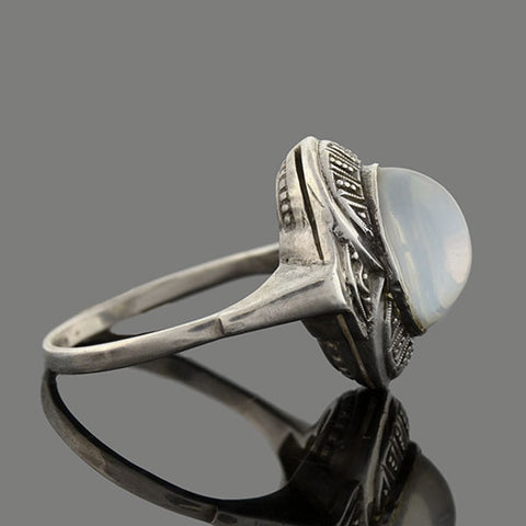 Art Deco Sterling Silver Cabochon Moonstone Ring