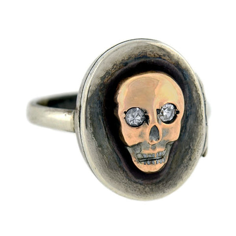 Victorian Sterling/14kt Diamond Skull Locket Ring