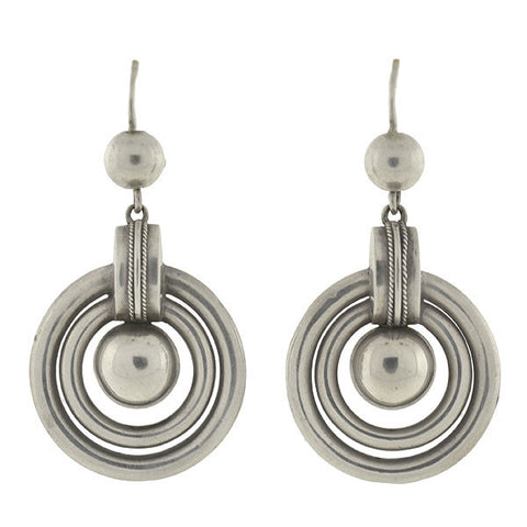 Victorian Sterling Silver Nested Hoop & Ball Earrings
