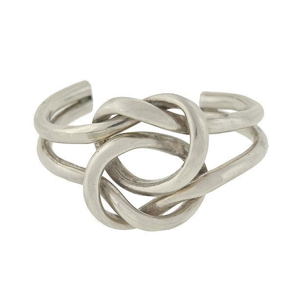 Vintage Sterling Silver Double Love Knot Cuff Bracelet