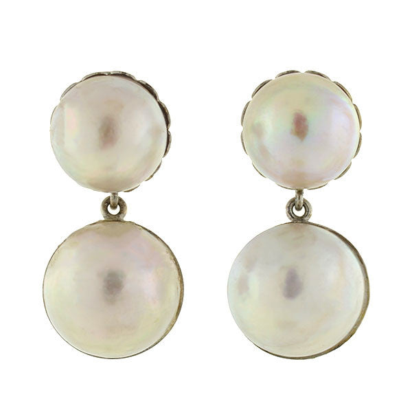 Vintage 14kt Double Mabe Pearl Earrings