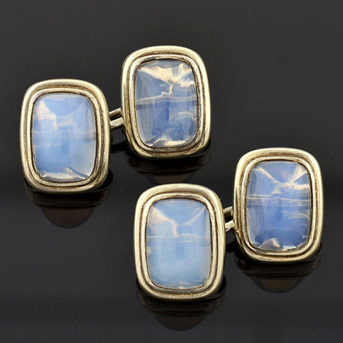 Art Deco Silver Moonstone Double Sided Cufflinks