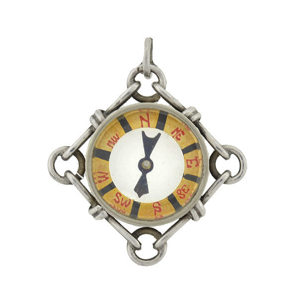 Late Victorian Sterling Compass Pendant/Charm