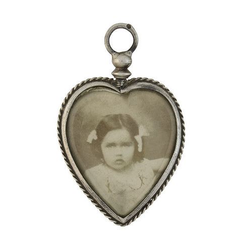 Victorian Sterling Double-Sided Photo Heart Locket