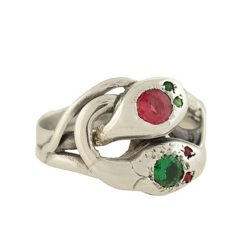 "Victorian Sterling French Paste ""Ruby + Emerald"" Double Snake Ring"