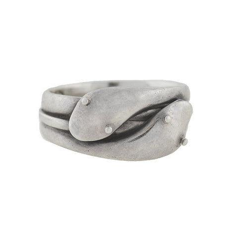 Victorian Sterling Silver Double Snake Ring