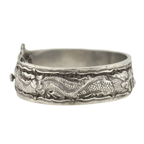 Art Deco Sterling Silver Repousse Dragon Bangle Bracelet