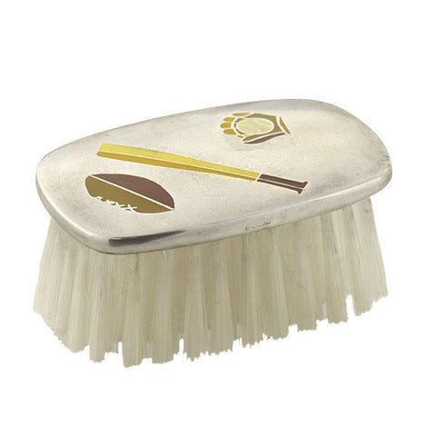 Vintage Sterling & Wood Enameled Baby Brush with Sports Motif