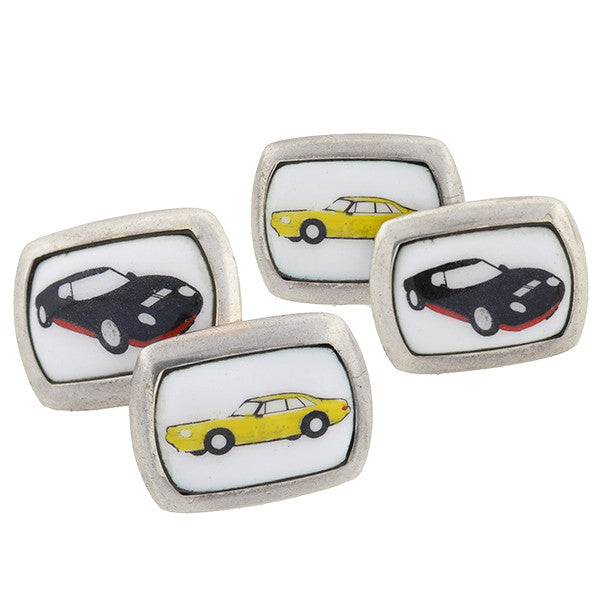Vintage Sterling & Porcelain Sports Car Cufflinks