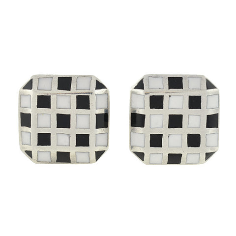 Vintage Sterling & Enamel Checkerboard Cufflinks
