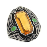Arts & Crafts Sterling Citrine & Enamel Ring