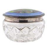 Victorian Cut Crystal Jar with Sterling & Enamel Lid