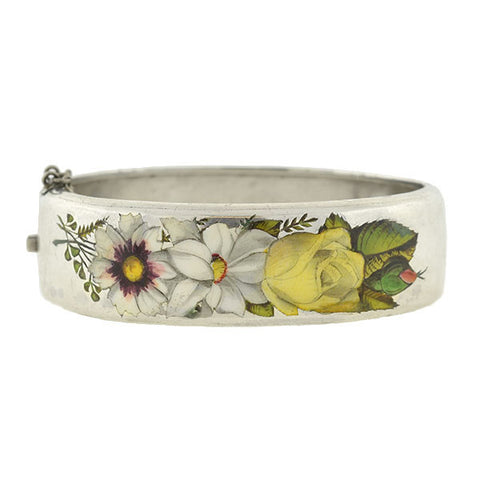 Victorian Sterling Silver Enameled Bangle Bracelet with Floral Motif