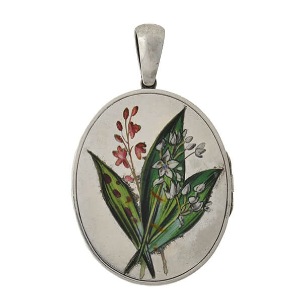 Victorian Sterling & Painted Enamel Leaves & Flowers Locket