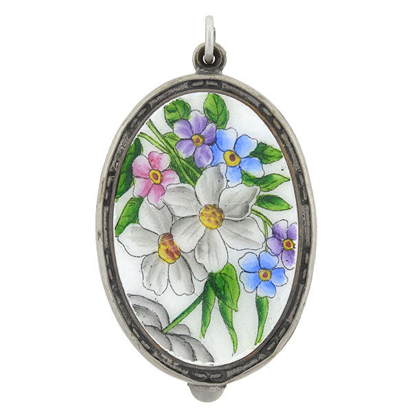 Victorian Sterling & Enamel Painted Flowers Slide Mirror Locket