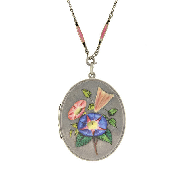 Late Victorian Sterling & Enameled Flowers Locket Necklace
